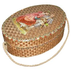 """VICTORIAN OVAL BOX w/ A ROPE HANDLE - STRAW COVERED - 5"""" long x 3 1/2"""" across - Cardboard Covered w/ Woven Straw - Lovely Picture On Top"""