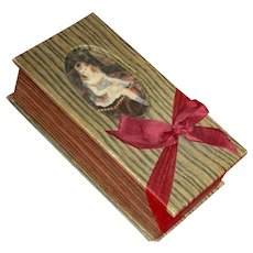"""DELICIOUS VICTORIAN CANDY BOX - For Your Doll Treasures - Attached Lace Doily - Oval Picture & Red Bow!! - 5 3/4"""""""