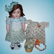 """GIANT 10"""" ALL BISQUE - KESTNER 208 9 - Perfect!! - Prize Baby Label on Chest - Red Germany Stamp - Adorable Clothes & Accessories!!"""