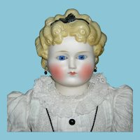 """ROUND FACE PARIAN - MOLDED BLACK HAIR BOW & GLASS EYES - 23"""" - Pierced Ears w/ Earrings - Molded Yellow Curly Hair - Old Cloth body - Pretty Clothes!!!"""