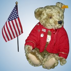 "STEIFF MILITARY BEAR - 14"" - Ear Button & Tags - Working Growler - Hand Sewn Nose & Mouth - Wool & Cotton (Mohair) - Germany - Jointed"