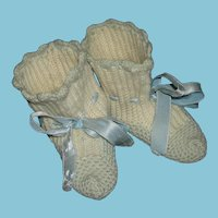 "PRETTY KNIT BOOTIES - Vintage - Cotton - Beige & Light Blue - 4"" Long - Blue Satin Ribbons & Scalloped Edge!!"