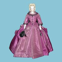 """LOVELY PARIAN - 16"""" - ORIGINAL PURPLE DRESS - Bisque Arms & Legs - Old Cloth body - Deep Modeling of the Hair & Ears!!"""