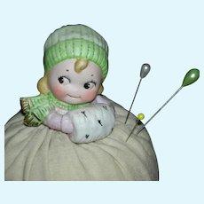"KEWPIE FACE PIN CUSHION - Or Hat Pin Holder - Made in Germany - Original Cushion - 5"" Tall"
