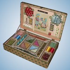 FRENCH BEAD WORK PRESENTATION BOX - All Original - 1900 - Wooden Box with Glass Beads, Sampler, Thread, Scissors, Needles, etc