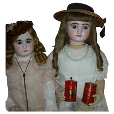 """Two (2) GERMAN RED TINS - CACAO or CHOCOLATE DOLL PROPS - 3 1/2"""" Tall Plus The Knob - Porcelain Knob & Tin Knob - Vintage condition!!"""