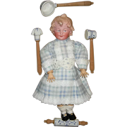 BISQUE HEAD CHARACTER DOLL on a SALESMAN'S CARD w/ Kitchen Baking & Cooking Utensils  - Porcelain & Wood Utensils - Stamped Germany on the back