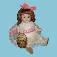 "GEBRUDER HEUBACH GOOGLY CHARACTER - Small 9"" - Sleep Eyes & Watermelon Mouth - Mold 9513 & Heubach Square Box - Antique Dress"