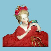 """LADY with a PARROT - 14"""" - COCOA POT COZY COVER - Original Wire Frame - Germany 1910 - Mohair Wig - Careful Painting & Modeling!!"""