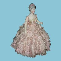 """RARE!! - HERTWIG & CO. - Half Doll w/ Jointed Arms - 10"""" - Molded Hairdo w/ Beads - Germany - Old Base"""