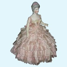 "RARE!! - HERTWIG & CO. - Half Doll w/ Jointed Arms - 10"" - Molded Hairdo w/ Beads - Germany - Old Base"