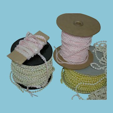 VINTAGE!! - SPOOLS of MOLDED BEADS and PEARLS plus 38 Bags of BEADS and PEARLS plus Old Needles - for Sewing & Crafts!! - Worth $100's of dollars!!