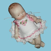 """RARE - BYE-LO BABY SALT SHAKER - Adorable!! - 3"""" - Antique - Germany - with vintage Embroidered Doily"""