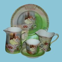 LITTLE MISS MUFFET - GERMAN DISH SET - Nursery Rhymes - Ca 1890 - Lovely Old Paintings - Royal Bayreuth Co