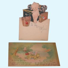 "KEWPIE POST CARDS - VINTAGE - 5 1/2"" x 3 1/4"" - (2) Two Cards  - One Card to Grandma!! - One Easel Card - So Sweet!!"