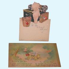 "KEWPIE POST CARDS - VINTAGE - 5 1/2"" x 3 1/4"" - (2) Two Cards  - One Card to Grandma!! - One Easel Card - So Sweet!!"