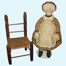"CLOTH RAG DOLL - VINTAGE - 14"" - Embroidered Features - Mohair Wig - Cute Dress & Apron - Vintage Chair Included! - 11"""