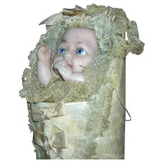 """Antique - Wax Swaddling Baby Candy Container - Pull Cord & Feet Move!!! - Lace, Silk & Ribbons - All Original & Fabulous!!! - 14"""" - Candy Container!!!"""