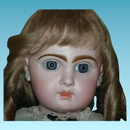 "TETE JUMEAU - 25"" - She Has The Look!!! - Blue Paperweight Eyes & Eyebrows That Almost Touch in the Middle!! - French Antique Doll - Nice Clothes!!!"