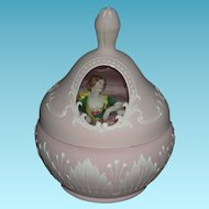 Rare!! - Antique POWDER JAR - Pink Frosted Glass - Raised Design w/ Clear Window & Powder Puff Half Doll!! - 3 Pcs.