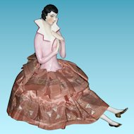 """Wonderful - ANTIQUE - POWDER BOX - Made For The French Market - Rare China 1/2 Doll w/ Legs - 7"""" Tall"""