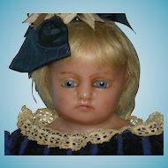 "MEECH - 24"" - English Poured Wax Doll - Blue Glass Eyes & Blonde Human Inserted Hair - Original Muslin Body & Wax Limbs!! - Pretty Antique Clothes!!!"