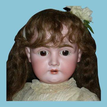 """GIANT 32"""" - J.D. KESTNER 164 - Brown Sleep Eyes - Orig Human Hair Wig - Orig Plaster Pate - Orig Finish on Marked Body!!"""