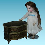"FRENCH CHEST - CANDY CONTAINER w/ DRAWERS - Lovely Designs - Bronze Base & Legs - Bronze Pulls - 9"" L - 7"" H - 5 1/2"" Deep"