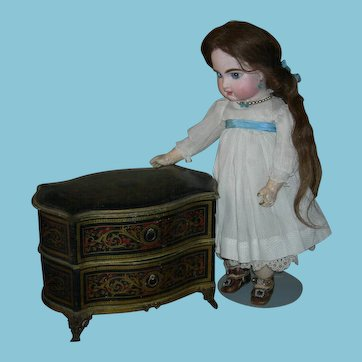 """FRENCH CHEST - CANDY CONTAINER w/ DRAWERS - Lovely Designs - Bronze Base & Legs - Bronze Pulls - 9"""" L - 7"""" H - 5 1/2"""" Deep"""