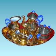 RARE - BLUE HANDLE & GILT PORCELAIN - Doll Size Tea Set - Tray & Sterling Silver Spoon!!