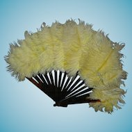 """FEATHER FAN - For a Fashion Doll - Brown Lucite Frame - 6"""""""