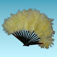 FEATHER FAN - For a Fashion Doll - Brown Lucite Frame - 6""