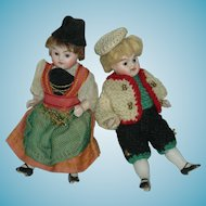 """All Bisque - BROTHER & SISTER - (2) Dolls - Glass Eyes - Original Clothes - 3 1/2"""" - Cute!!"""
