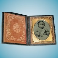 """PRETTY BABY - TINTYPE - Leather Case with Glass & Copper Insert - 3"""" x 2 1/2"""" - Excellent Condition!! - Antique"""