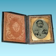 "PRETTY BABY - TINTYPE - Leather Case with Glass & Copper Insert - 3"" x 2 1/2"" - Excellent Condition!! - Antique"