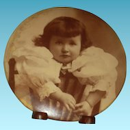 """ADORABLE GIRL - Large Celluloid Photo Button - 6"""" - On Metal - Stand!!"""