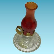 "RED GLASS & CRYSTAL - Glass Oil Lamp - Miniature - 2 1/2"" - Doll's House Size!!!"