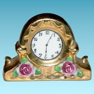 """MANTLE CLOCK - Miniature - Porcelain w/ Gold Leaf - Molded Flowers & Leaves - Dollhouse Size - 2"""" Tall"""