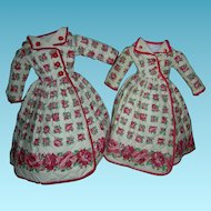 "TWIN COATS or ROBES - Quilted - 14"" & 16"" - Vintage - Cotton w/ Red Trim & Red Buttons - Red Floral Holiday Coats For Sisters!!"