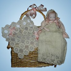"""BYE-LO BABY - 5"""" - All Bisque - w/ Layette & Shell Basket - Glass Eyes!! - Pretty Clothes!!"""