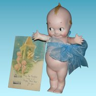 "ROSE O'NEILL KEWPIE - Large 8 1/2"" - Bisque - w/ 1924 Kewpie Happy New Year Post Card!!!"