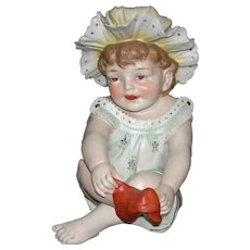 """PIANO BABY - Conta & Boehme - Large 11"""" Tall - Putting on a Red Sock!! - Figurine - Made in Germany!!"""
