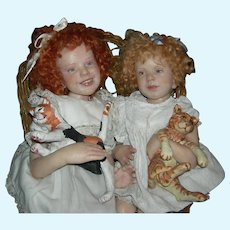"(2) TWO WAX DOLLS w/ CATS - Vintage - Artist - Sitting in a Wicker Chair - Wonderful Character Dolls - 18"" & 19"""
