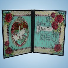 """I LOVE YOU - GLASS SCREEN - Valentine's Day or Background For Small Dolls - Vintage 1978 - 7"""" High & 10 1/4"""" Wide When Open!"""