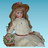 "SWEET NELL - 24"" - Alt, Beck & Gottschalck - ABG 1362 - Hair Eyelashes & Orig Body Finish!! - Straw Basket & Straw Hat!!"
