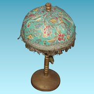 "DOLL's LAMP or DOLLHOUSE LAMP - 7 1/4"" - Wooden Base & Stem - Padded Fabric Shade & Tassel - Antique!!"