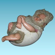 WAX BABY EMERGING From An EGG!! - CANDY CONTAINER!! - Poured Wax Baby w/ Glass Eyes - Papier-Mache' Egg - No Damage or Repairs!! - So Sweet!!