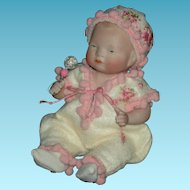 """BYE-LO BABY - 6"""" - All Bisque - With Layette!! - Label On Chest - Made by J.D. Kestner - Pretty Embroidered Clothes!!"""