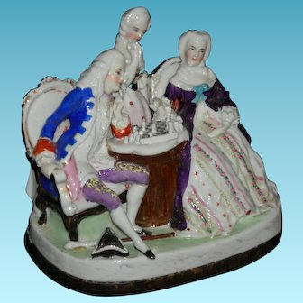 """CONTA & BOEHME - FIGURAL INKWELL - Figures Playing Chess - Sand Shaker & Inkwell - Porcelain - 1800's - Germany!! - 6"""" High x 7"""" Wide!!"""
