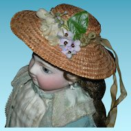 "SMALL VINTAGE STRAW HAT - Cute 4"" Across - Ribbon Streamers & Flowers w/ Beads"